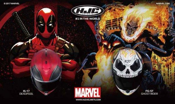 Přilby s motivem Deadpool a Ghost Rider