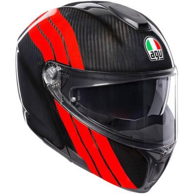 AGV přilba SPORTMODULAR Stripes carbon/red