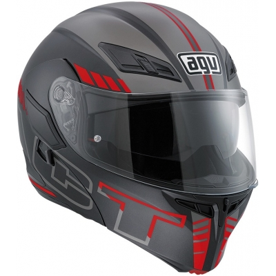 AGV prilba COMPACT ST Seattle matt black / silver / red