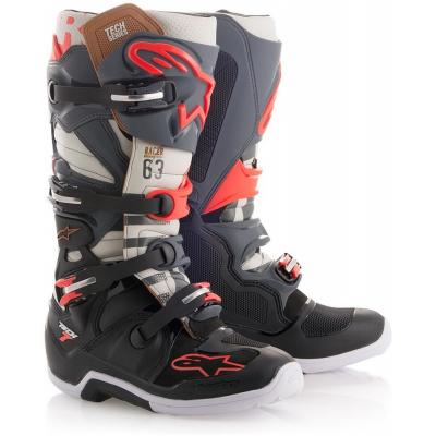 ALPINESTARS topánky TECH 7 BlackJack grey/white/fluo red/black