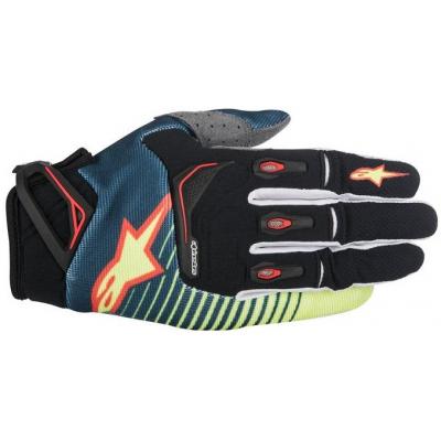 ALPINESTARS rukavice TECHSTAR petrol/yellow fluo/red