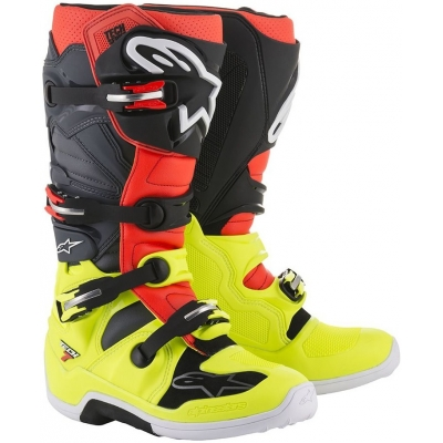 ALPINESTARS boty TECH 7 yellow fluo/red fluo/gray/black