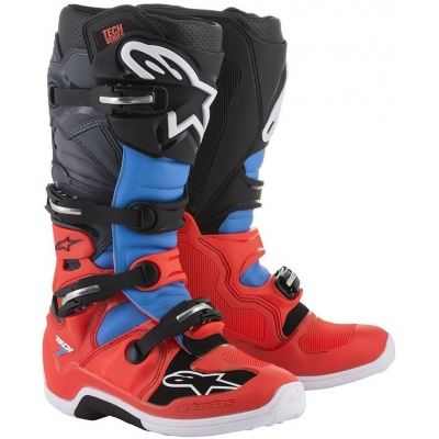 ALPINESTARS boty TECH 7 red fluo/cyan/gray/black