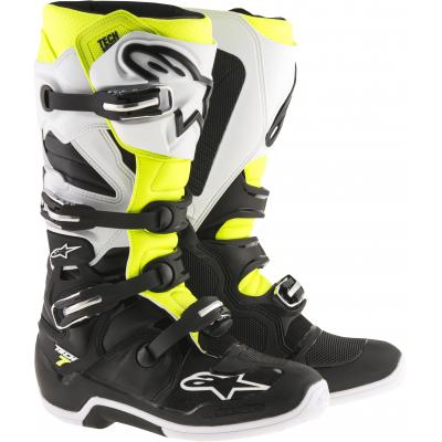 ALPINESTARS topánky TECH 7 Black / White / yellow fluo