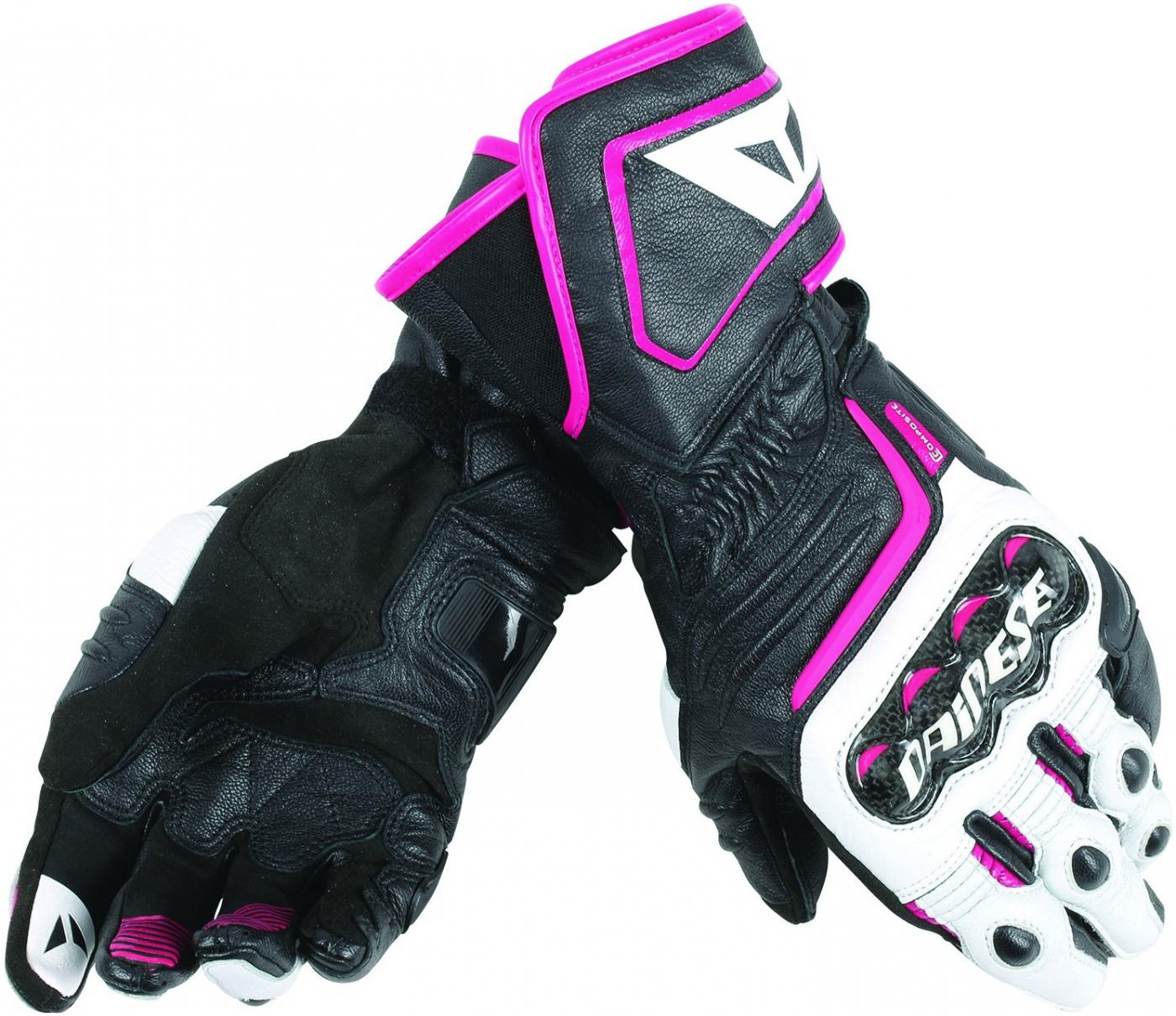DAINESE rukavice CARBON D1 LONG dámské black white fuchsia  710b0ee541