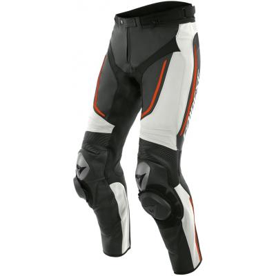 DAINESE kalhoty ALPHA white/black/fluo red