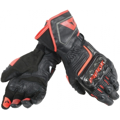 DAINESE rukavice CARBON D1 LONG Black / Black / fluo red