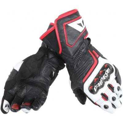 DAINESE rukavice CARBON D1 LONG black/white/lava red