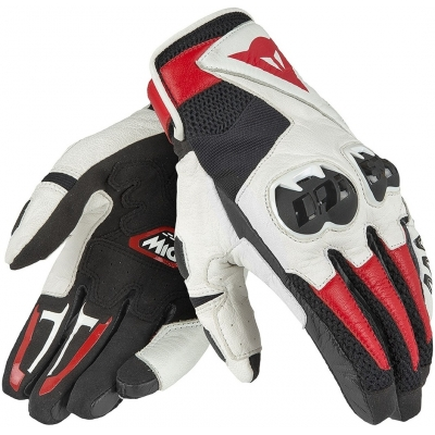 DAINESE rukavice MIG C2 Black / White / lava red