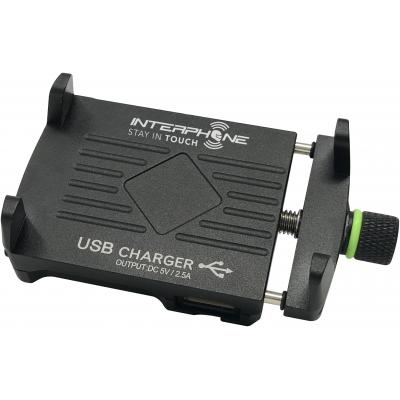 INTERPHONE držiak na riadidlá CRAB EVO ALU USB black