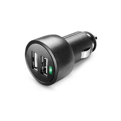 CELLULARLINE miniaturní autonabíječka DUAL s konektory 2x USB 3,1A black