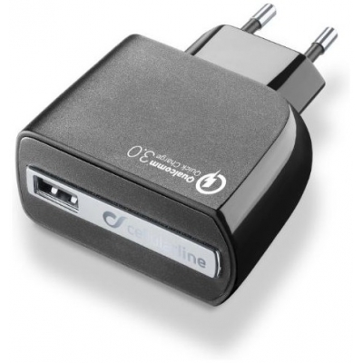 CellularLine cestovná nabíjačka QUALCOMM QUICK CHARGE 3.0 18W black