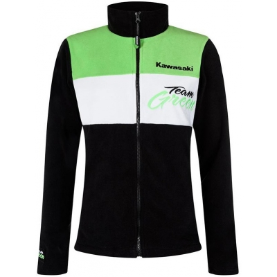 KAWASAKI mikina na zips TEAM GREEN dámska black / white / green