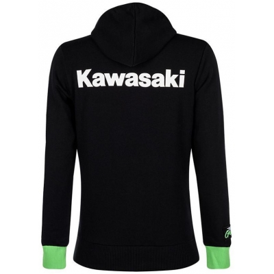 KAWASAKI mikina s kapucňou TEAM GREEN dámska black / white / green