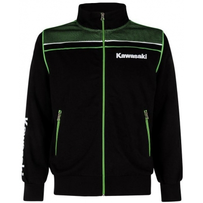 KAWASAKI mikina na zips SPORTS SWEATSHIRT black / green