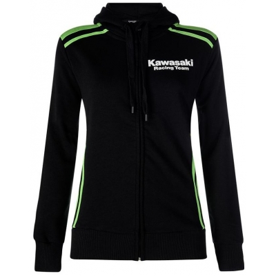KAWASAKI mikina na zips s kapucňou KRT black / green