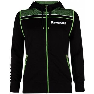 KAWASAKI mikina na zips s kapucňou SPORTS SWEATSHIRT dámska black / green