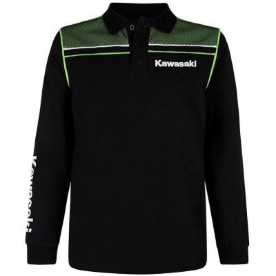 KAWASAKI polo tričko s dlhým rukávom SPORTS black / green