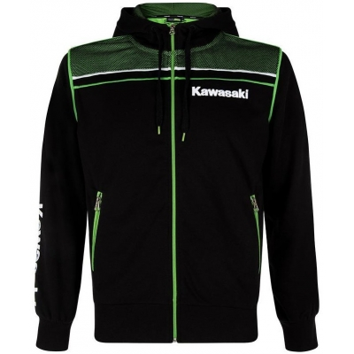 KAWASAKI mikina na zip s kapucí SPORTS SWEATSHIRT black/green