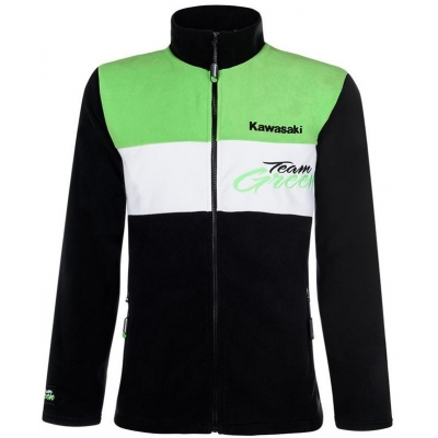 KAWASAKI mikina na zips TEAM GREEN black / white / green