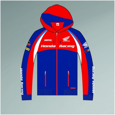 CLINTON ENTERPRISES mikina s kapucňou HONDA RACING ENDURANCE red/blue